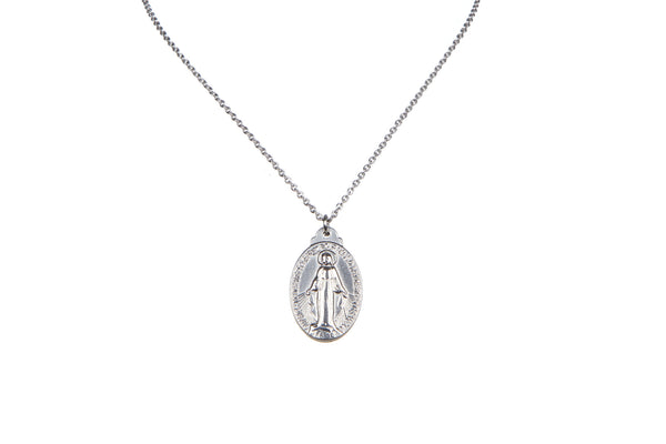 Stainless Steel Miraculous Medal/Chain set - 1.8cm
