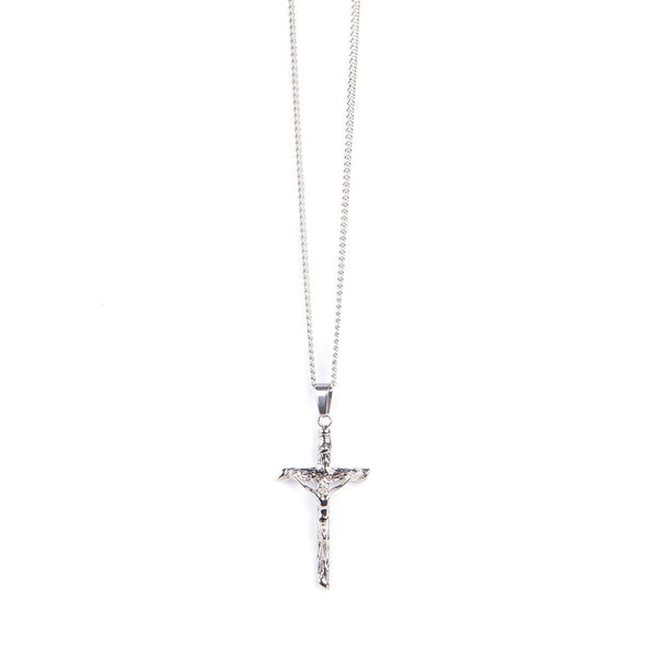 Stainless Steel Papal Crucifix/Chain - Straight