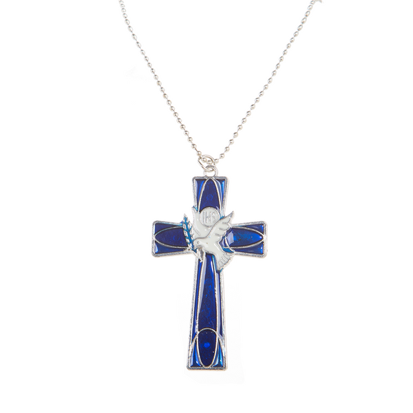 Metal Holy Spirit Cross/chain - Blue