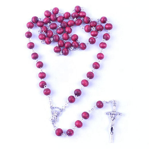 Red Scented Wood Bead Rosary