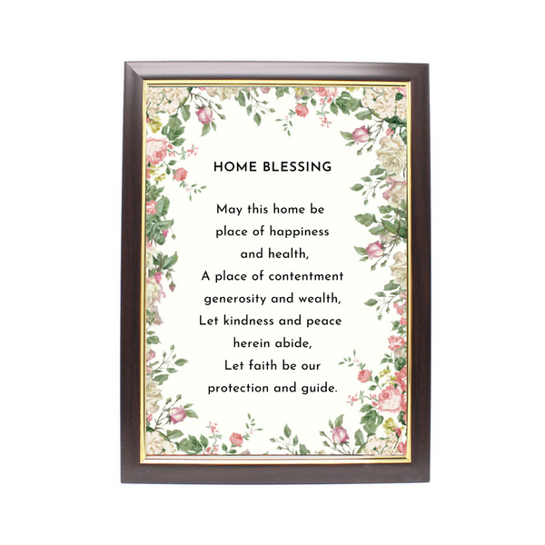Wood Framed Picture Home Blessing (Design B)