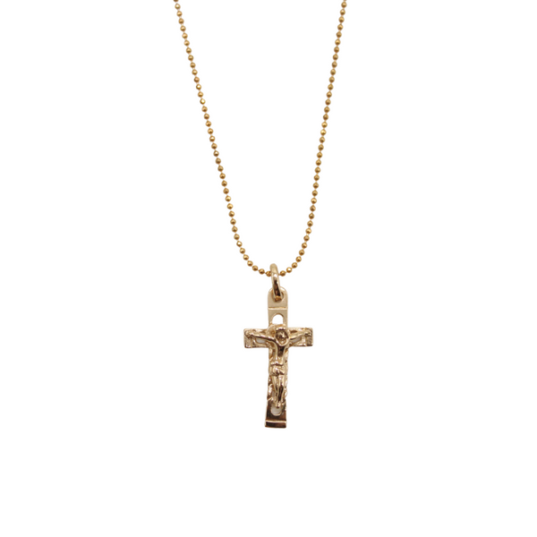 Zircon Crystal Cross/Chain Set (gold plated)