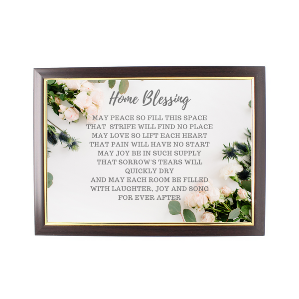 Wood Framed Picture Home Blessing (Design C)