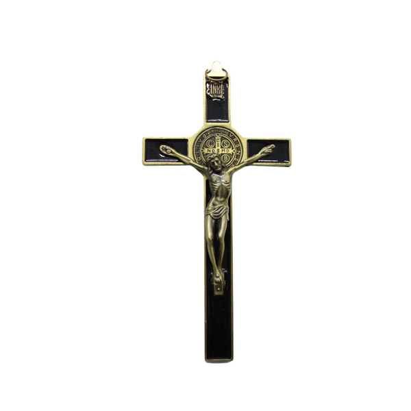 Metal St Benedict Wall Crucifix - 18cm (Bronze gold)