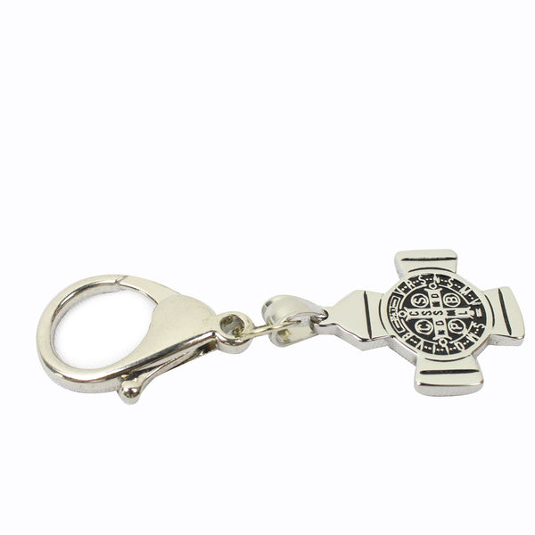 Stainless Steel St Benedict Keychain/Bag Charm
