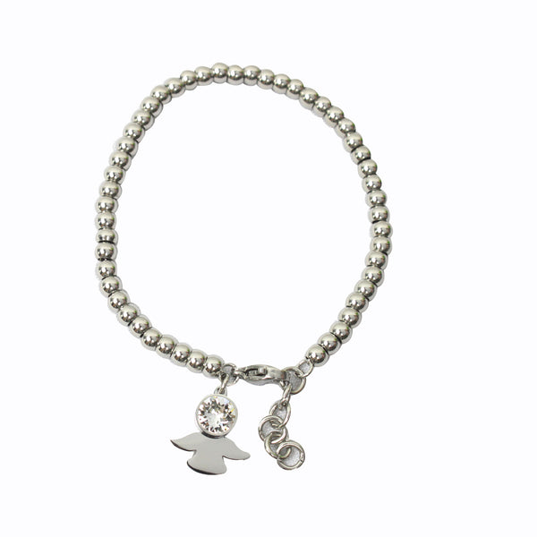 Stainless Steel Beads Bracelet with Angel Charm
