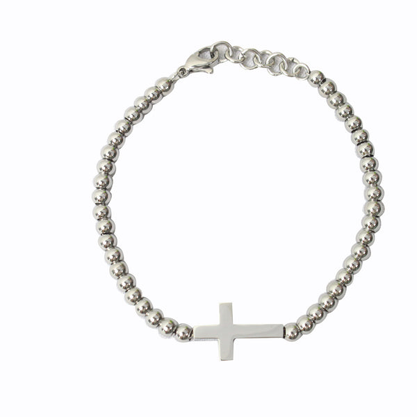 Stainless Steel Beads Cross Bracelet