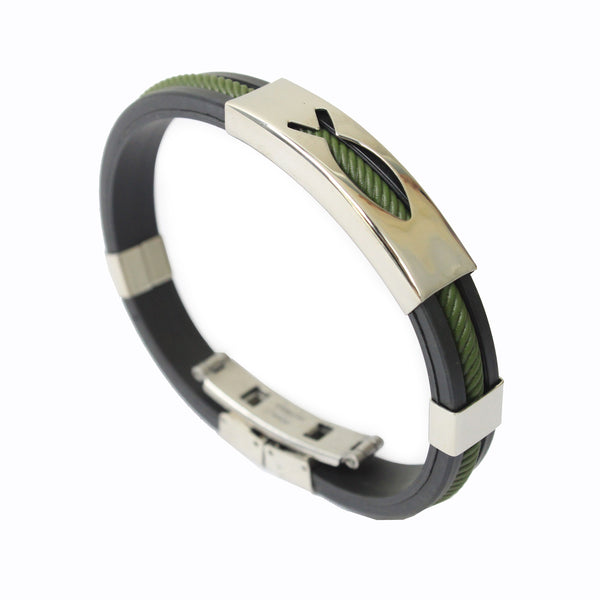 Rubber/Stainless Steel Fish Bangle (Green)