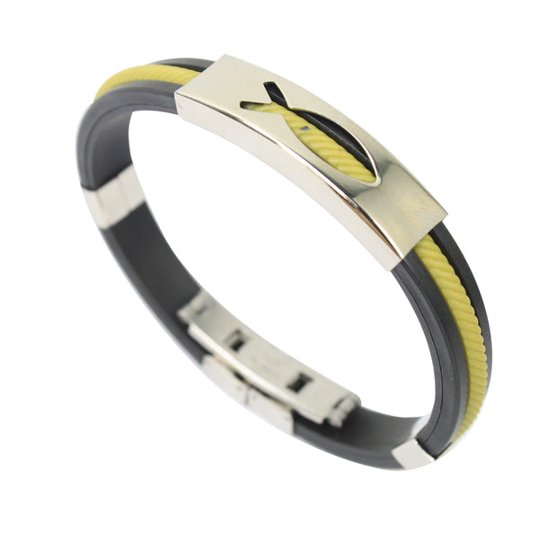 Rubber/Stainless Steel Fish Bangle (Yellow)