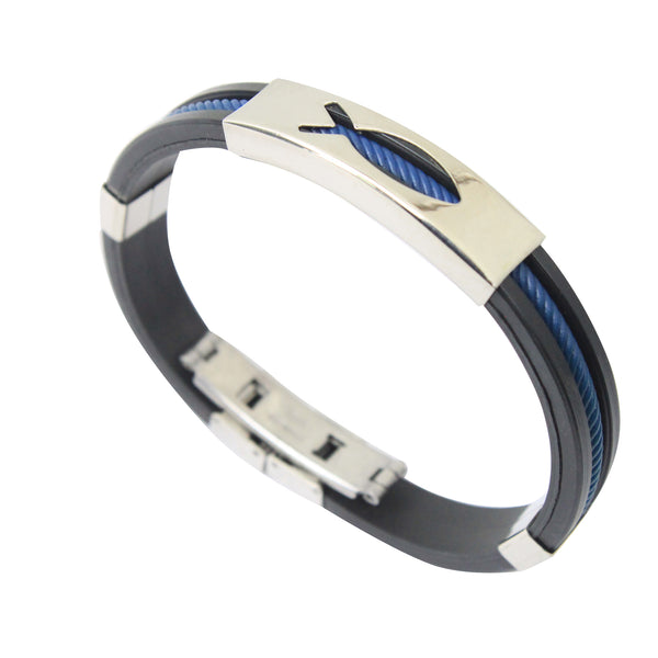 Rubber/Stainless Steel Fish Bangle (Blue)