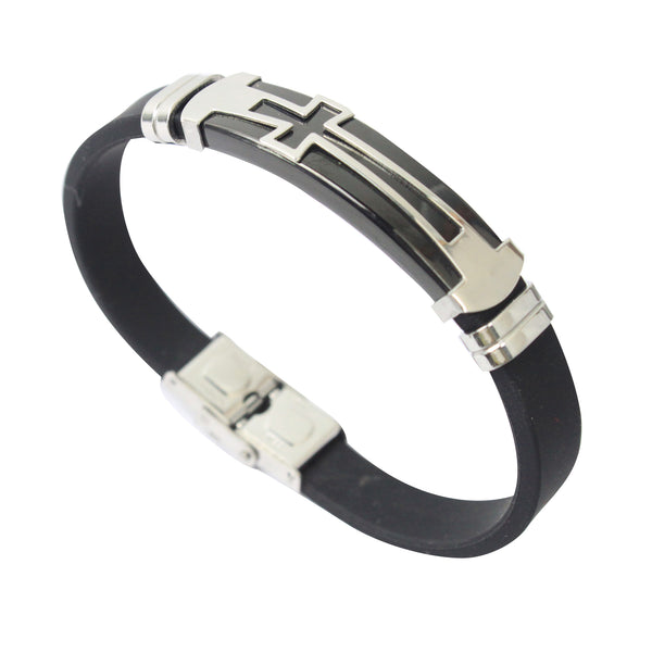 Rubber/Stainless Steel Cross Bangle (Black)