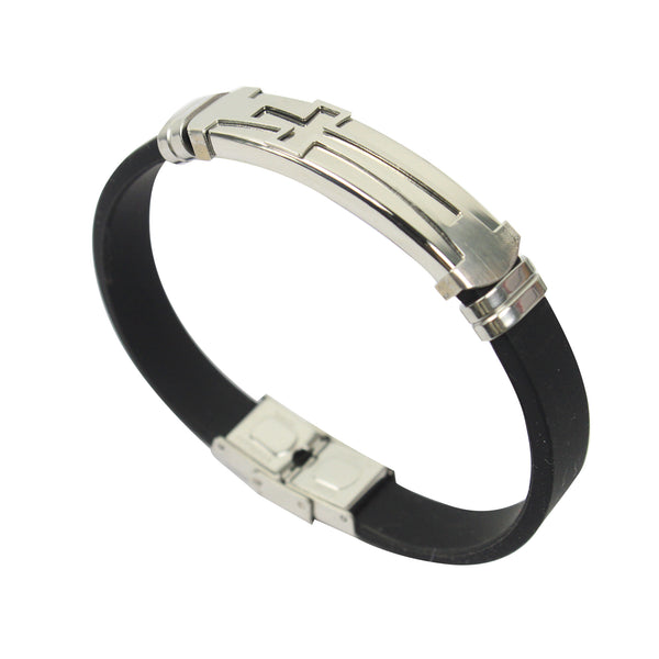 Rubber/Stainless Steel Cross Bangle (Silver)