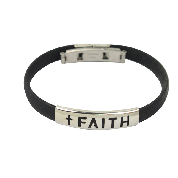 Rubber/Stainless Steel Faith Bracelet