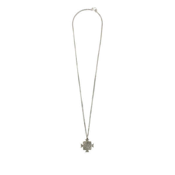 Stainless Steel St Benedict Crucifix/Chain - Silver