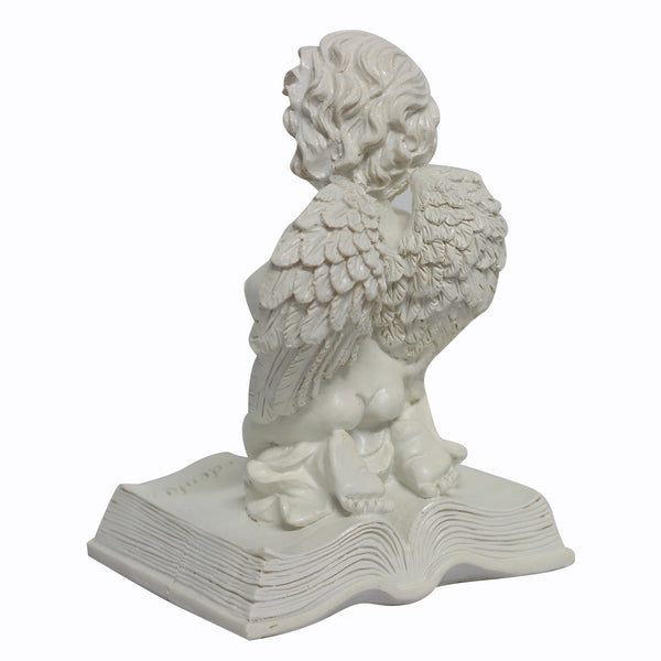 Polystone Angel on Bible - 24cm
