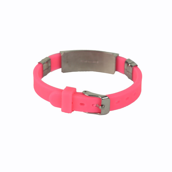 Rubber/Stainless Steel Cross Bangle (Pink)
