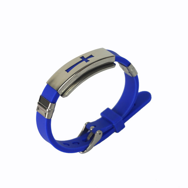 Rubber/Stainless Steel Cross Bangle (Blue)