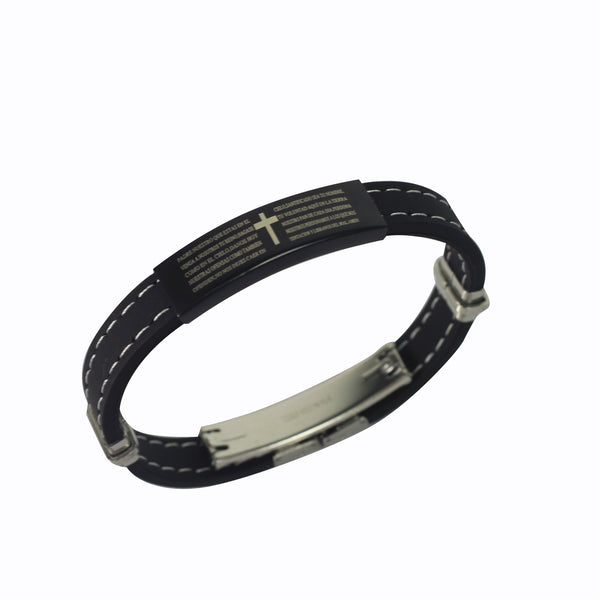 Rubber Bracelet  with Stainless Steel  Our Father's Prayer  (Black)