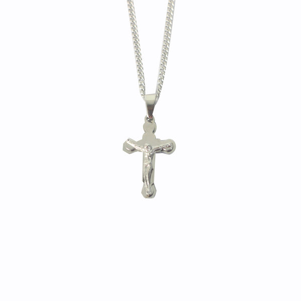Stainless Steel  Crucifix/Chain (Flower)
