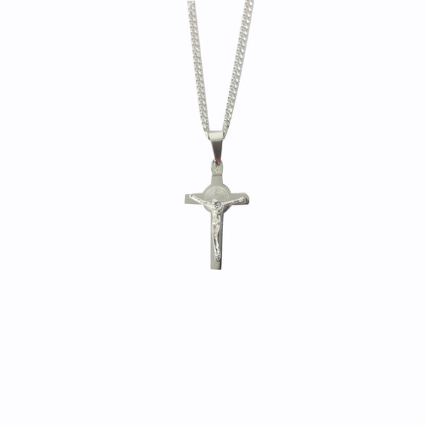 Stainless Steel St Benedict Crucifix/Chain - Silver small
