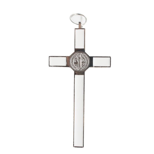 Metal St Benedict Wall Crucifix (White)- 10cm