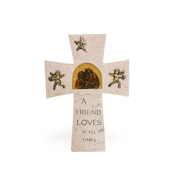 Stone Inspirational Cross - 'A friend loves at all times'