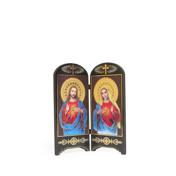 Wooden Table Holy Picture - Sacred Heart & Immaculate Heart