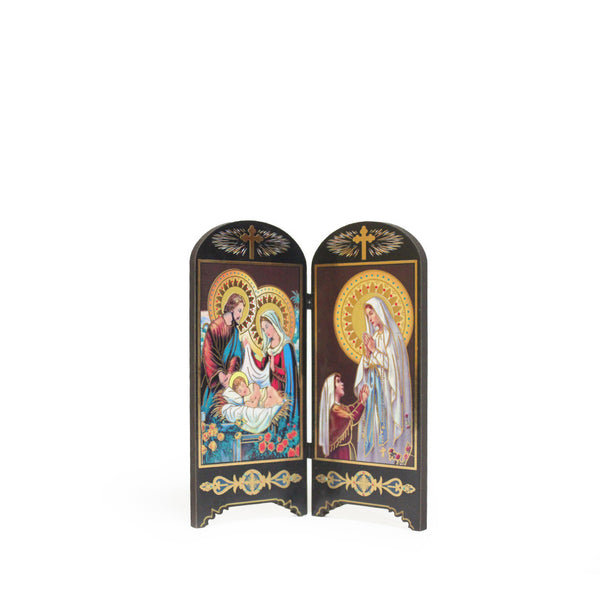 Wooden Table Holy Picture - Holy Family/Lady of Lourdes