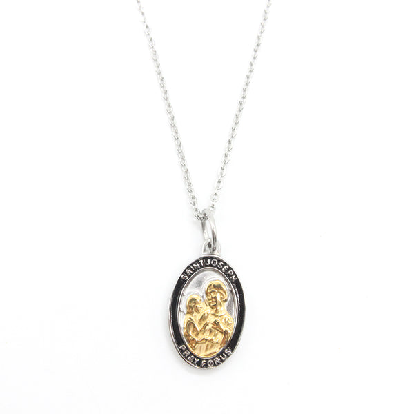 Stainless Steel St Joseph Medal/Chain set- 1.5cm (Gold plated)