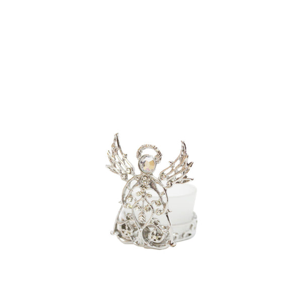 Metal Angel/Glass Candle Holder - Silver