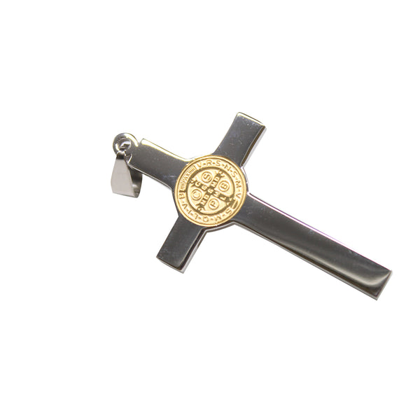 Stainless Steel St Benedict Crucifix - Silver/Gold