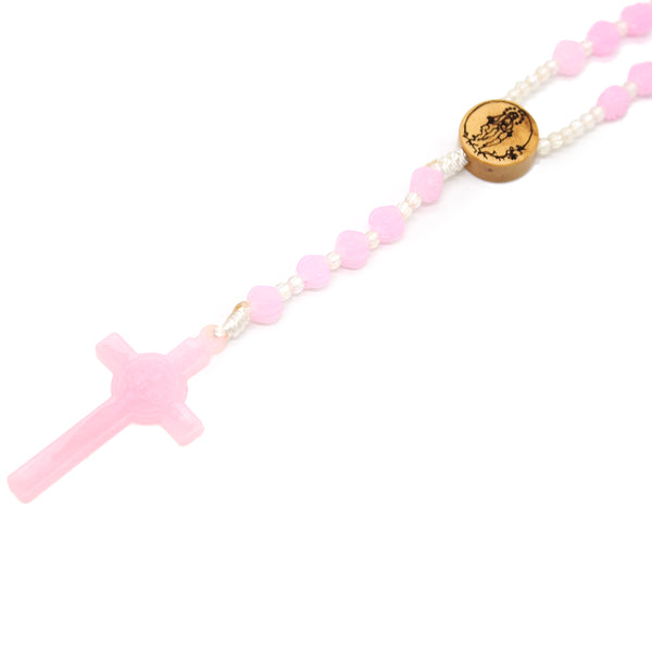 Plastic Round Bead Rosary (Pink)