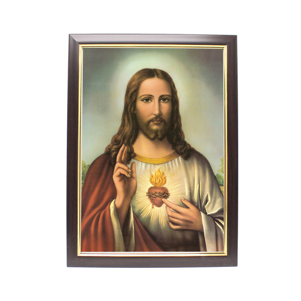 Wood Framed Picture - Sacred Heart of Jesus (A)