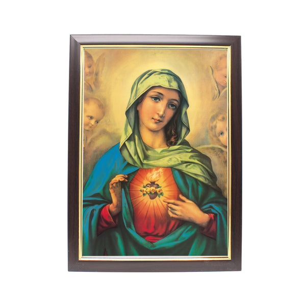 Wood Framed Picture - Immaculate Heart of Mary (Design A)
