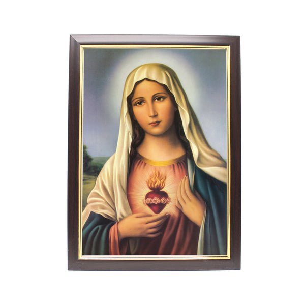 Wood Framed Picture - Immaculate Heart of Mary (Design B)