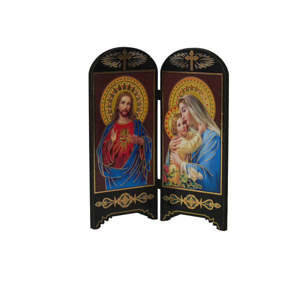 Wooden Table Holy Picture - Sacred Heart of Jesus/Madonna