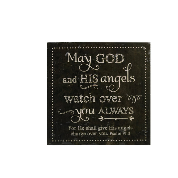 Ceramic Inspirational Plaque -May God and his angels watch over you always
