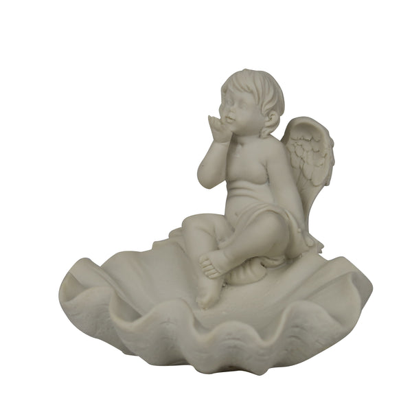 Polystone Angel with Plate Holder - 12cm