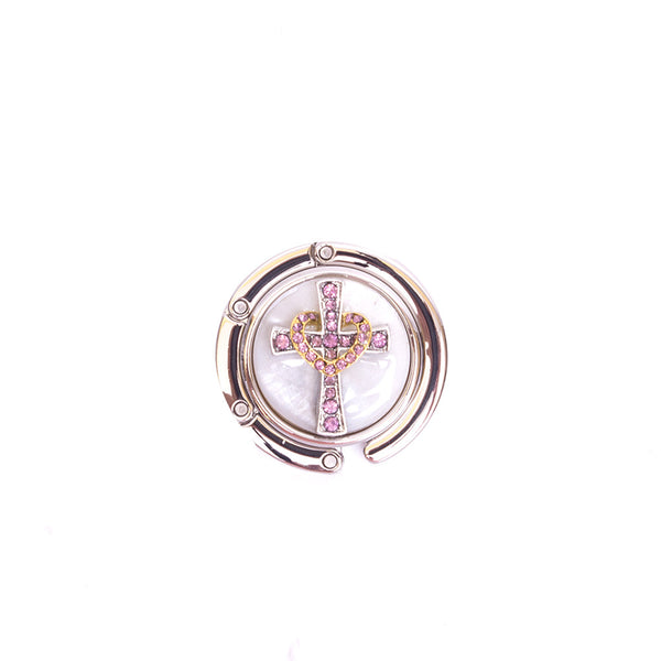 Cross Handbag Hanger - White/Gold