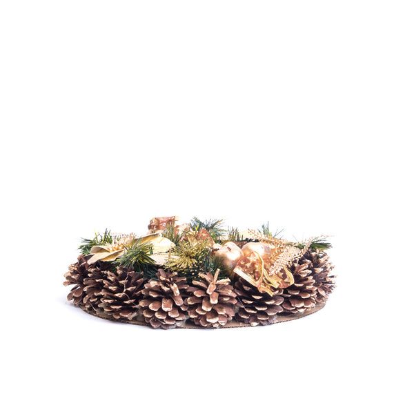 "Christmas Advent Wreath 11"" (Gold Ponsettas)"