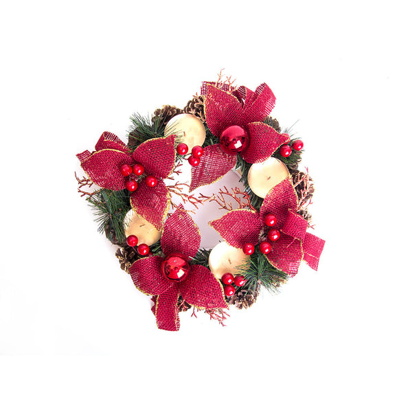 "Christmas Advent Wreath 11"" (Red Ponsettas)"