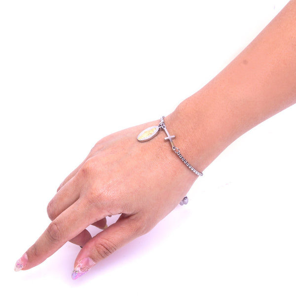 Stainless Steel Adjustable Bracelet/Miraculous Medal (silver)