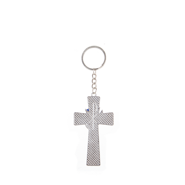 Metal Holy Spirit Cross Keychain - Blue