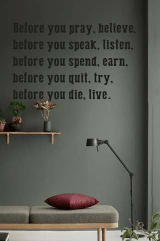 Before you quit, try bold wall quote