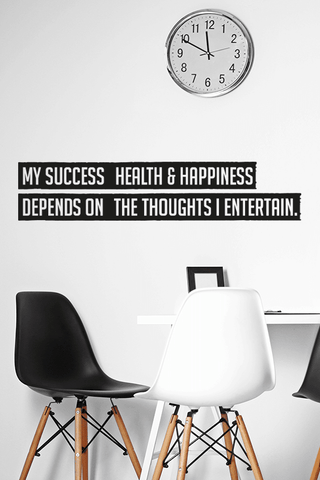 My success health & happiness cut out wall quote
