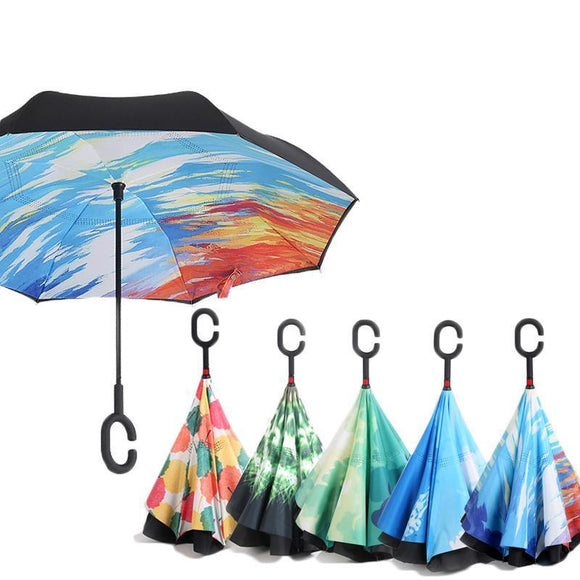 Windproof Reverse Double Layered Inverted Umbrella - Lightweight, Durable & Anti-Drip