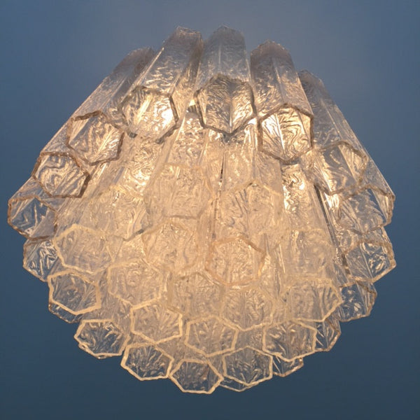 Vintage Italian Hexagonal Murano Glass Chandelier