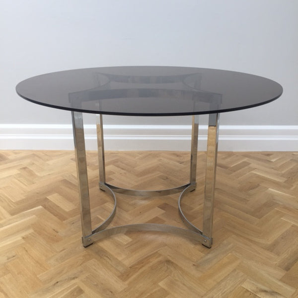 1970s Merrow Associates Glass & Chrome Dining Table