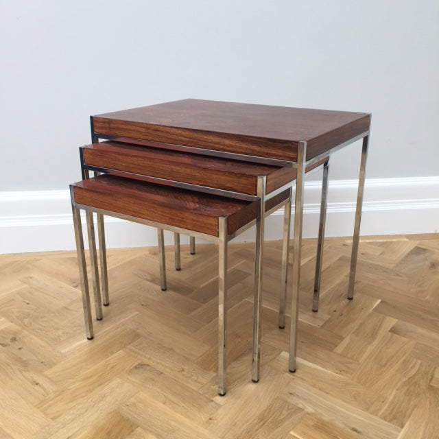Mid Century Italian Rosewood and Chrome Nest of Tables
