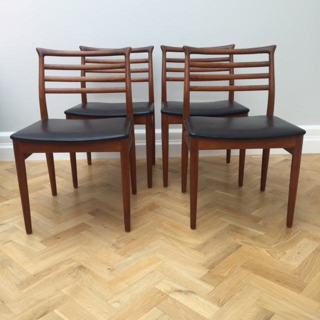 Vintage Mid Century Danish Erling Torvits Rosewood Dining Chairs